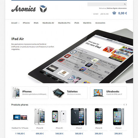 Screenshot of Aronics's e-commerce website