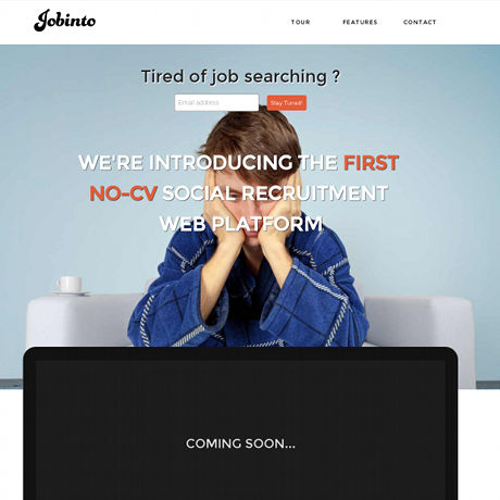 Screenshot of Jobinto's launch page